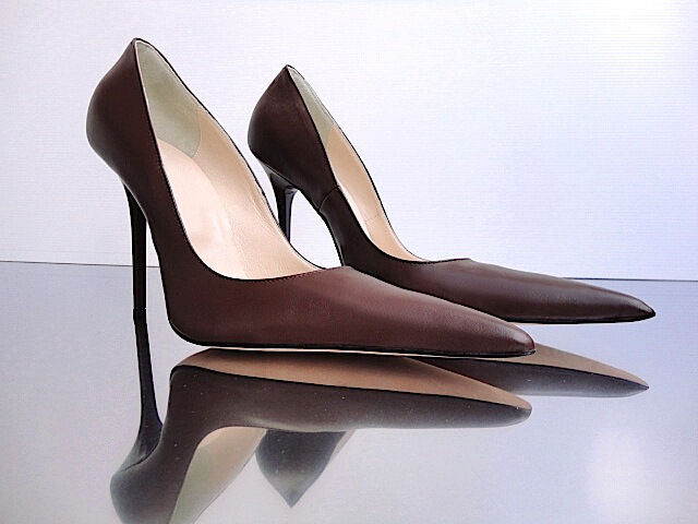CQ COUTURE ITALY ITALY ITALY HEELS POINTY BOMBAS ESCOLARES DECOLTE REAL LEATHER MARRÓN d142c6