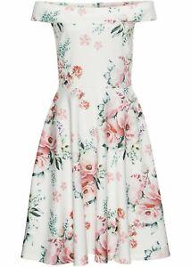 Neu Carmen Kleid mit floralem Print, 941153 in Weiß/Rosa ...