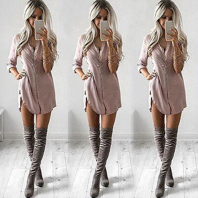 Fashion Women Sexy Long Sleeve Shirt Casual Blouse Loose Chiffon Tops T Shirt