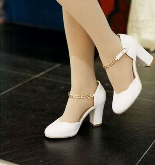 Ladies Mary Janes Chain Chunky Block Heels Sexy Pumps Shoes Strap Prom Plus Size
