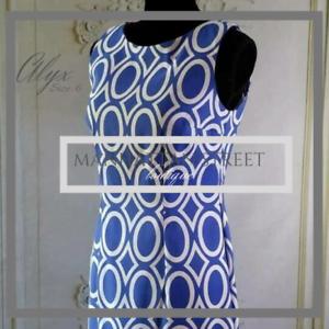 ALYX-NWOT-Women-039-s-Shift-Dress-Size-6-Sapphire-Blue-amp-White-Geometric
