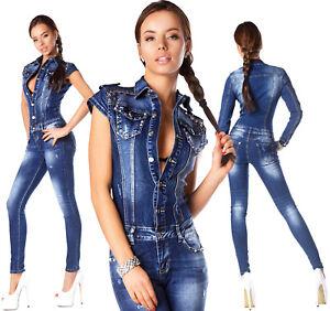 blu da denim donna borchie in maniche con R lunghe scuro 885 sexy Tuta qpwCXn66