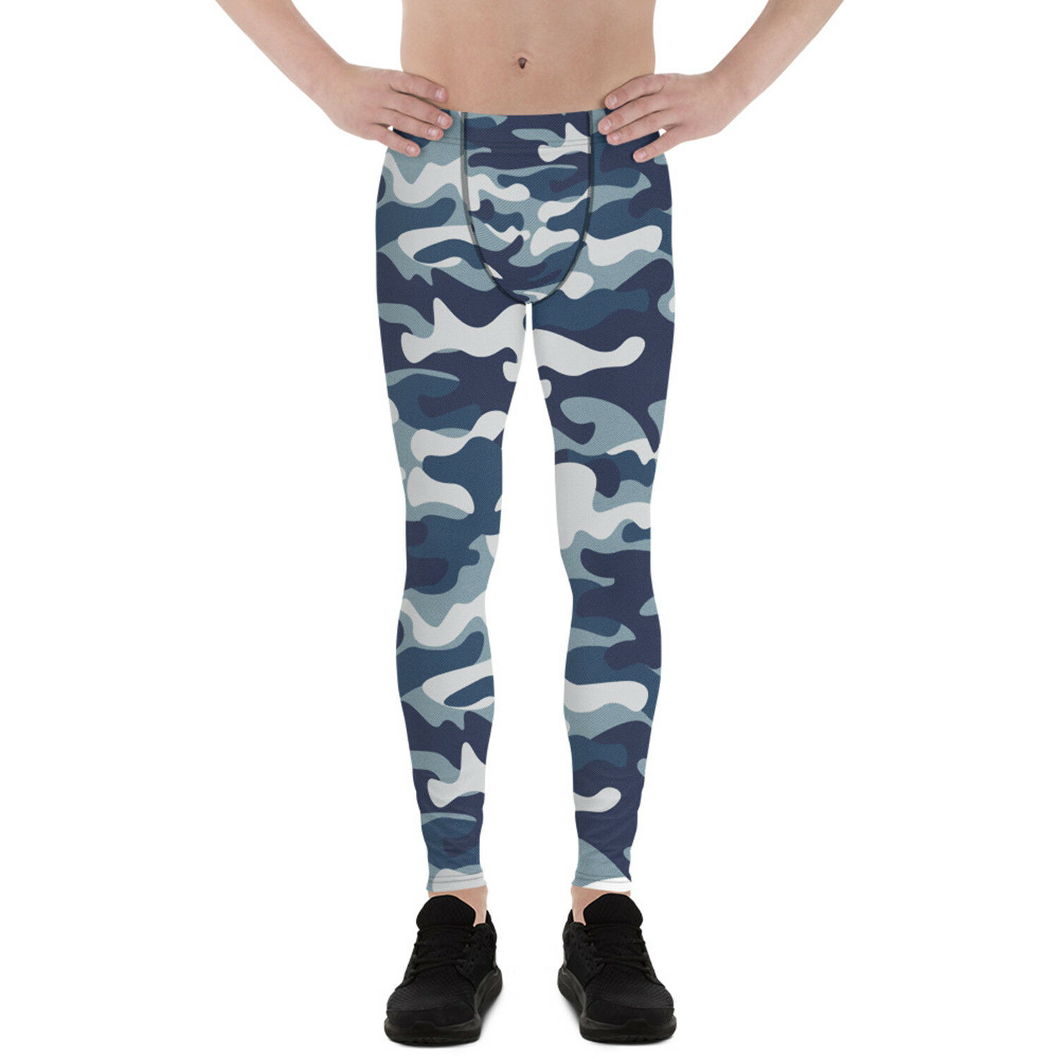 blu Camo Leggings For Men Camouflage Military Print Meggings Running Gym Pants