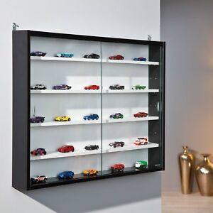 Display Cabinet Wall Mounted Glass Door Laminated Black White Toy