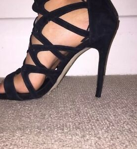 RIVER-ISLAND-BLACK-SUEDE-CAGE-STRAPY-GLADIATOR-STYLE-SHOES-UK-SIZE-7