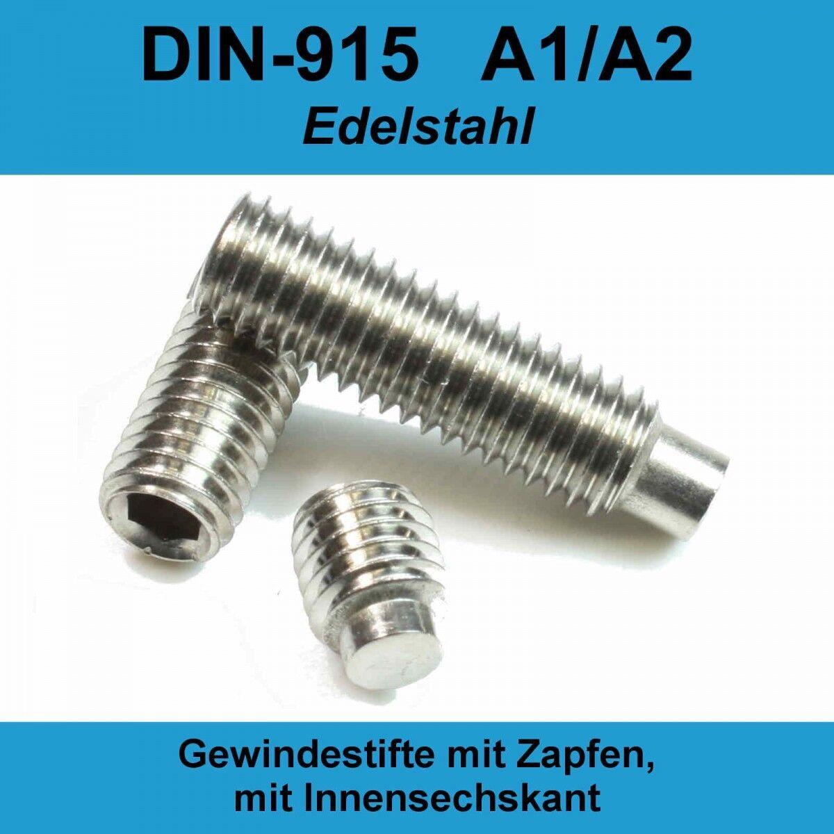M10 DIN 915 A2 Gewindestifte Zapfen Edelstahl Innensechskant Madenschrauben M10x