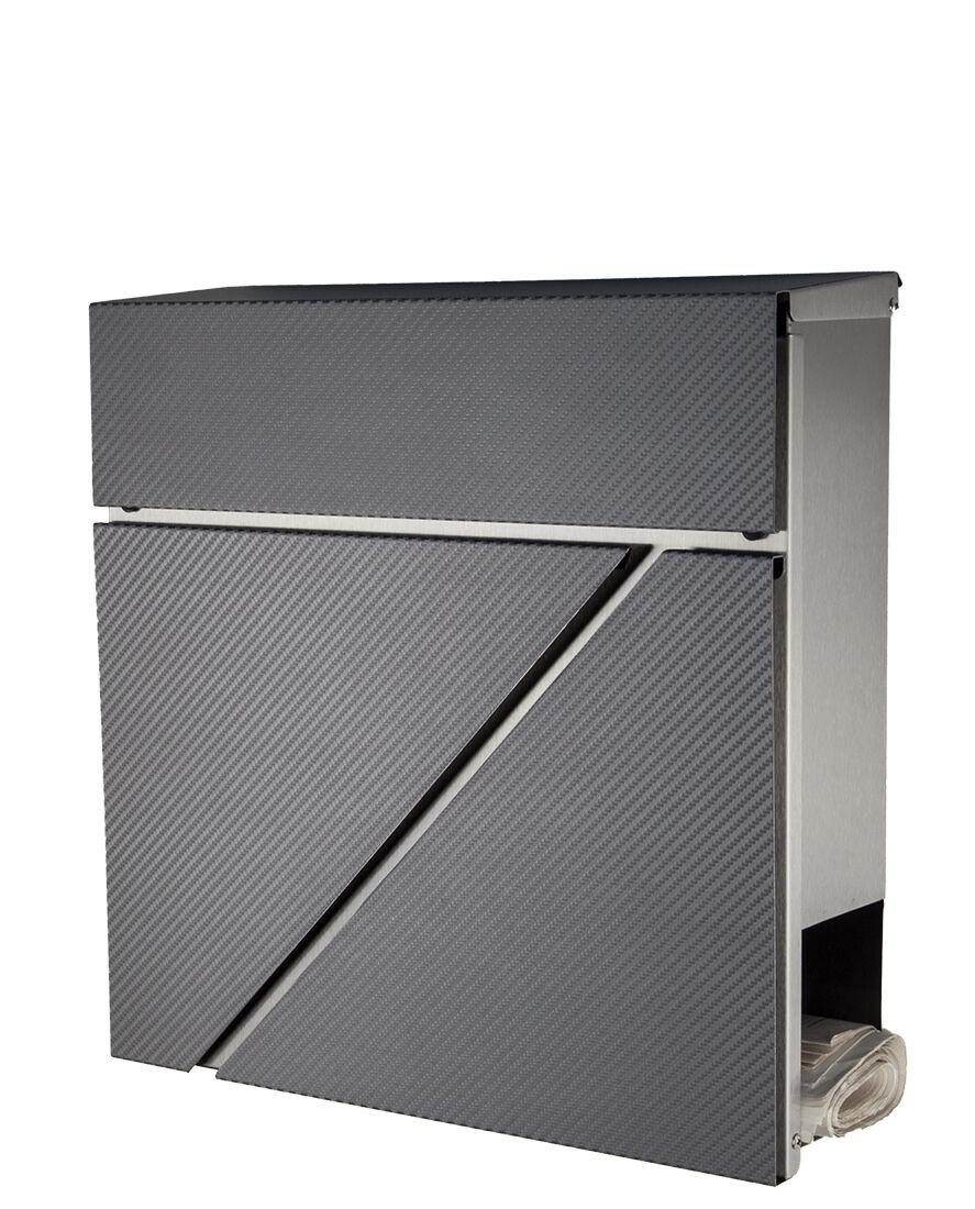 Designer Briefkasten Edelstahl 555 Front in grau-carbon mit Zeitungsfach