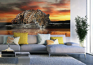 Huge Wallpaper mural for bedroom Leopard wild cat animal Giant photo wall