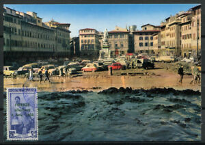 Italia-1966-Cartolina-Maximum-100-Firenze-Alluvione-S-Croce