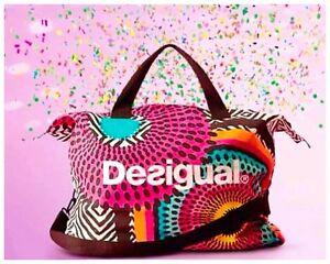 Image Is Loading Desigual Women Designer Gym Travel Tote Shoulder Handbag