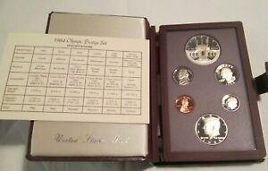 1984-Prestige-Proof-Set-U-S-Mint-COA-Box-6-coin-Olympic-Silver-Dollar
