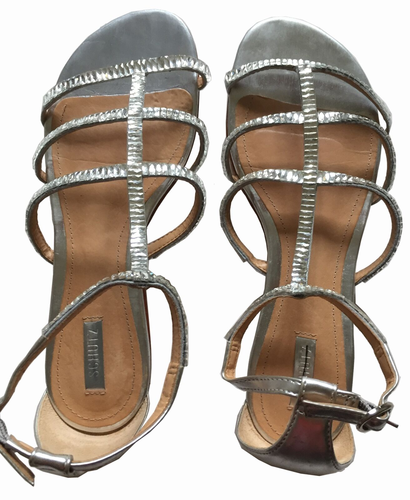 ANTHROPOLOGIE SCHUTZ US 7 Silver Leather Sandals Rhinestone Ankle Strap