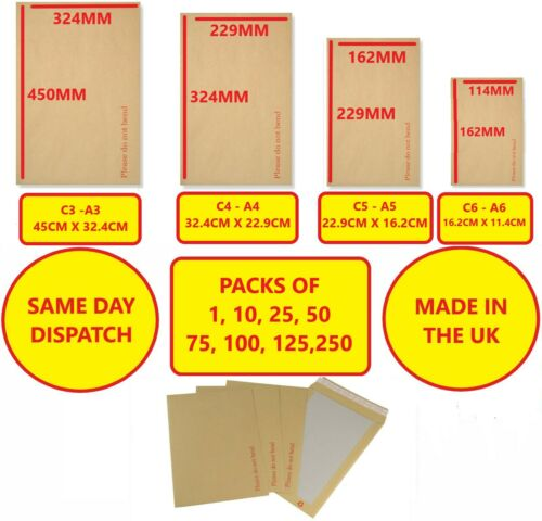 50 A4 C4 PLEASE DO NOT BEND HARD CARD BOARD BACKED MANILLA ENVELOPES BROWN