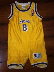 Details about NBA LOS ANGELES LAKERS KOBE BRYANT CHAMPION 12 MONTHS ONEPIECE RARE VTG HOME