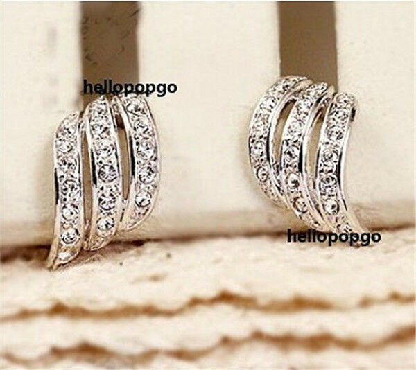 18K White Gold GP Austrian Crystal Wave Studs Fashion Jewelry Earrings BR1000