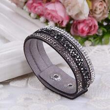 Bracelet fin 3 rangées Swarovski® Elements GRIS argent cuir souple pressions