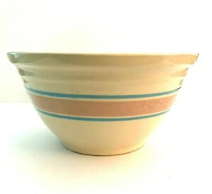 Vintage-McCoy-USA-12-034-Large-Oven-Ware-Bowl-with-Pink-and-Blue-Stripes