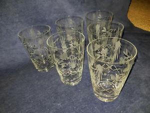 Jugendstil Sektglas zartes Kristall geschliffene Blütenranke-mehrere verfügbar