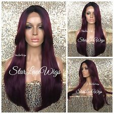 Human Hair Blend Long Lace Front Wig Straight Plum Wine Purple Dark Root Heat Ok