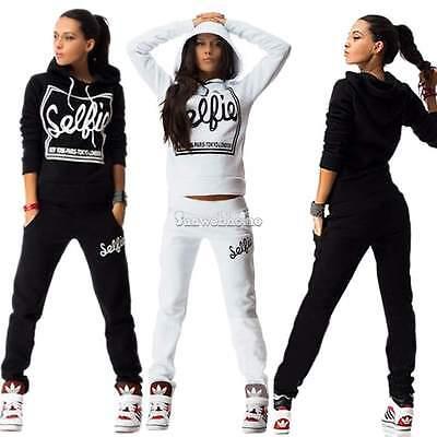 Women's 2Pcs Hoodies Sweatshirt Pants Set Casual Tracksuit Jogging Gym Sweatsuit