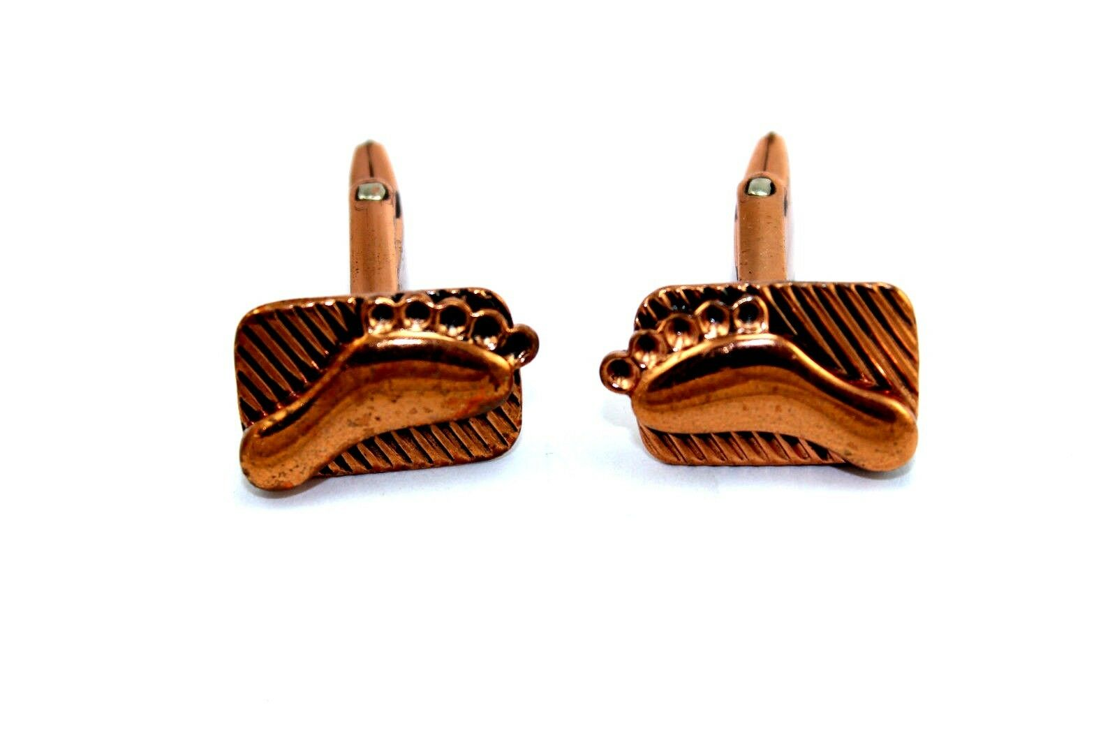 Vintage Modernist RENIOR of California Solid Copper Abstract FOOTPRINT Cufflinks