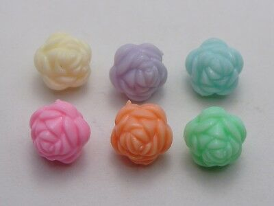 100 Mixed Pastel Color Acrylic Carved Rose Flower Beads Charms 12mm Double Side