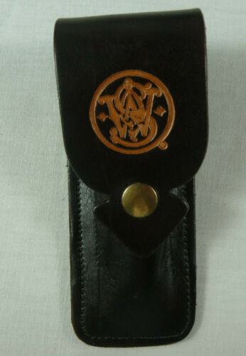 Leder schwarz vintage look. Gürteltasche // Messertasche Smith /& Wesson