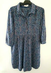 FATFACE Blue Pink Green White Abstract Midi 3/4 Sleeve Shift Dress Size 16