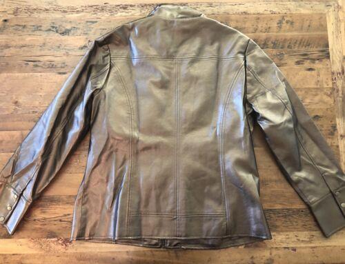 Læder Chicos Jakke Størrelse Kvinder Guld Faux 2 Collared Zip Bronze Fuld Frakke rrYSn4v