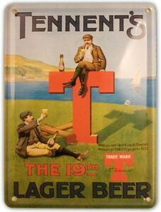 TENNENTS-GOLF-Small-Vintage-Metal-Tin-Pub-Sign