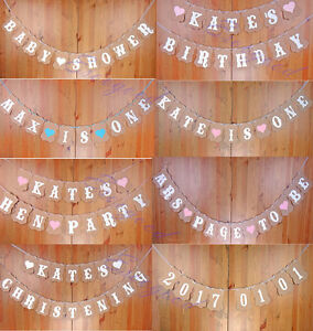 Image Is Loading Personalised Banner Bunting Wedding Hen Party Baby Shower