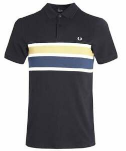Fred-Perry-Mens-Stripe-Panel-Pique-Polo-Shirt-Short-Sleeved-Top-M2588-608-Navy