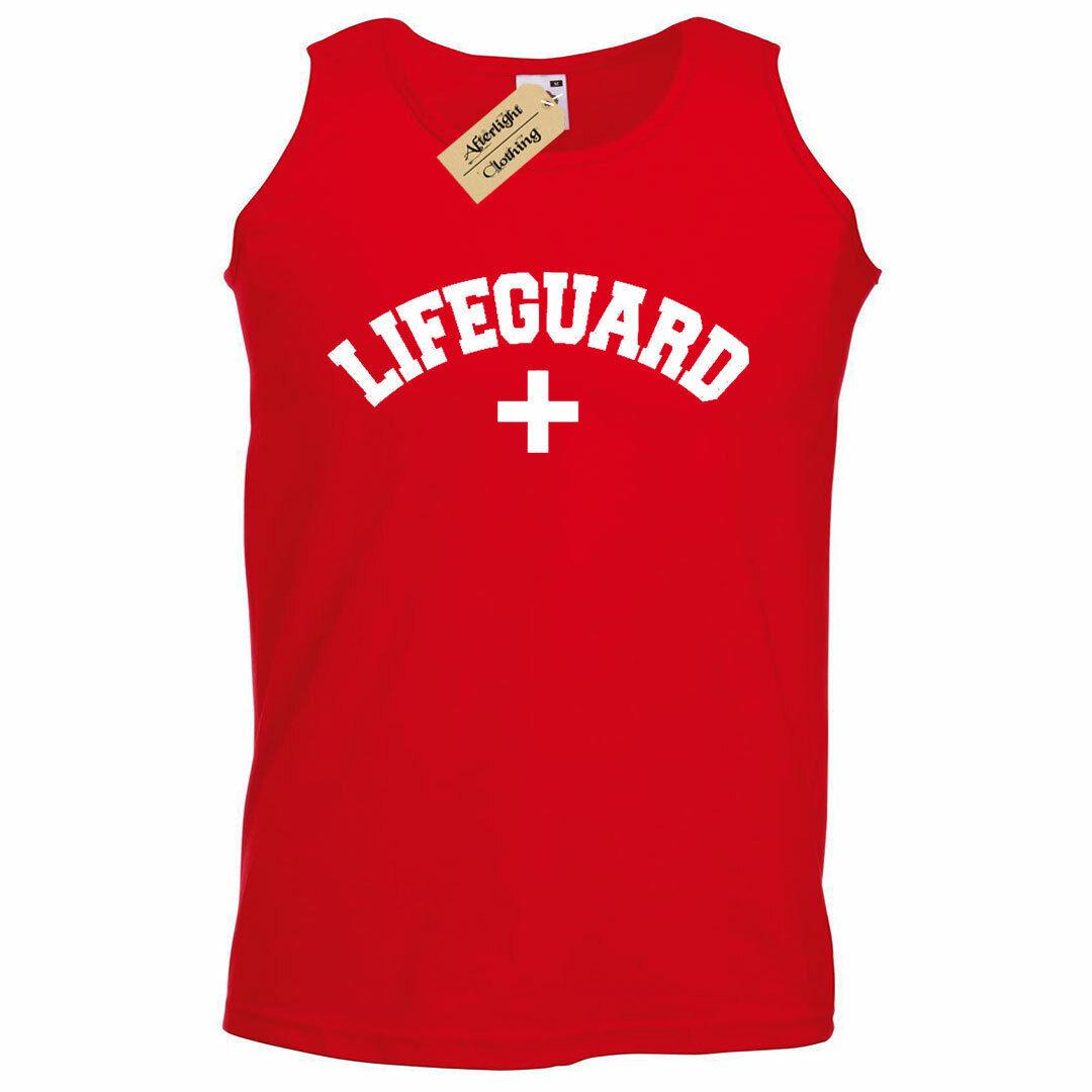 Mens Lifeguard Beach Summer Work UniformTank Top Vest novelty joke