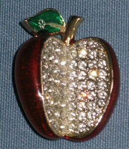Teacher Pin Brooch Red Apple Green Rhinestones Gold Tone