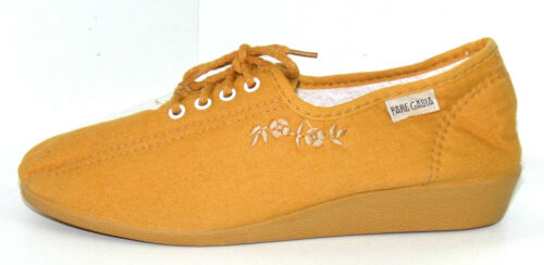 CHAUSSONS BASKETS COMPENSEES 37 A LACETS toile jaune ocre BAYONA PARE GABIA NEUF