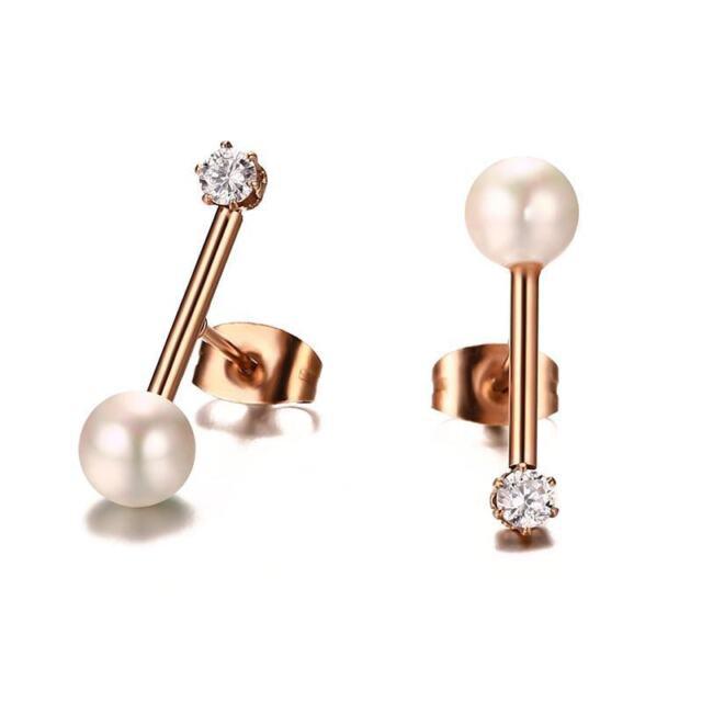 2CM Stainless Steel AAA CZ Shell Pearl Ear Studs Women's 18K Rose Gold Earrings