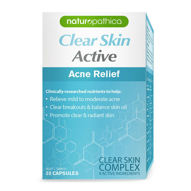 * CLEAR SKIN ACTIVE ACNE RELIEF 30 CAPSULES RELIEVE MILD TO MODERATE ACNE
