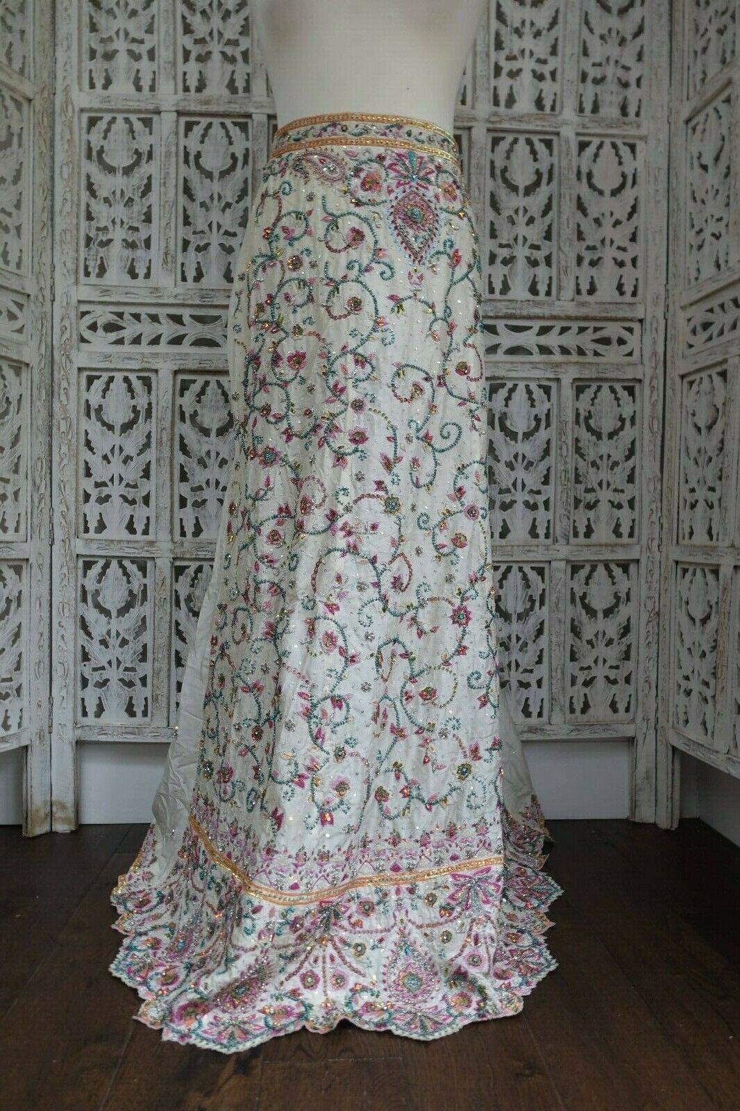 "Cream embellished silk lengha Bollywood Wedding Skirt to fit 30"" waist SKU17500"