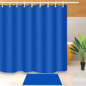 Image Is Loading Royal Blue Shower Curtain Waterproof Fabric Plain Color