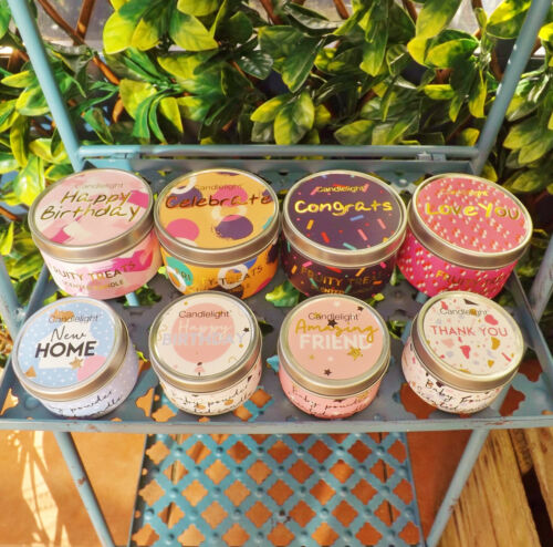 Candle in a Tin Home Fruit Treat Baby Powder Wedding Love Friend Birthday Thanks