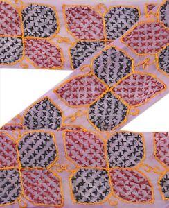 Sanskriti Vintage Sari Border Craft Brown Trim Hand Embroidered Sewing Lace Crafts Trim & Edging