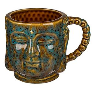 Tasse-Thai-Buddha-Kopf-400-ml-Kaffeetasse-Teebecher-Steingut-Buddha-Statue