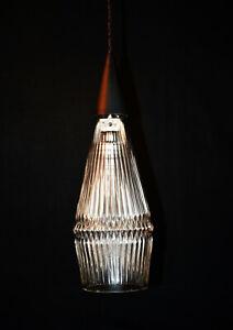 Vintage 1940 Original sind Deko prismatischen Holophane Glas Träne Pendelleuchte