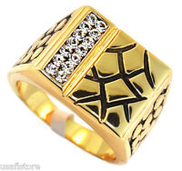 Mens Fourteen Crystal Stones Gold Plated Ring Size 12