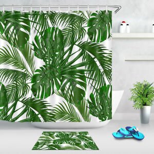 Green Tropical Palm Leaf Shower Curtain Liner Bathroom Mat Set Waterproof Fabric Ebay Discover a unique and stylish collection of shower and bathroom curtains at urban outfitters. ebay