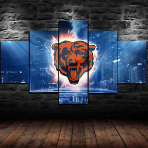 Illinois-Chicago-Bears-Football-City-5-pcs-Painting-Canvas-Wall-Art-Home-Decor