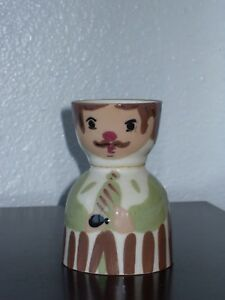 Wooden Egg Cup Salt And Pepper Shakers Man Woman Bride Groom Made in Japan?