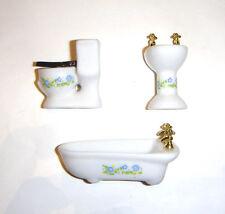 Dollhouse Miniature Accessory Mini Sink, Toilet, and Bathtub For Diorama dm001