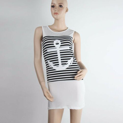 2018 Summer Women Casual Sleeveless Round Neck Anchors Striped Dress Trendy