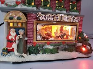 St-Nicholas-Square-Santa-039-s-Toy-Shop-Lighted-Musical-Christmas-Village-House